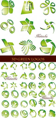 3D Green logos - Stock Vectors