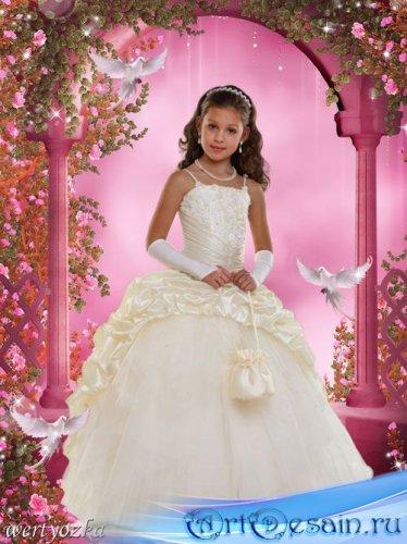 Детский шаблон для фотошопа - Девочка с голубями