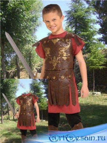 Юный гладиатор-шаблон для фотошоп