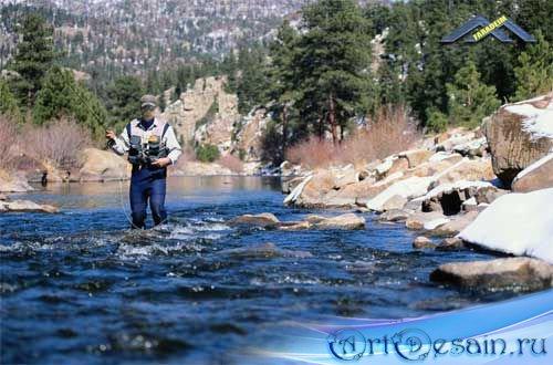 Мужской шаблон для фотомонтажа Рыбак