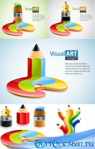 Векторные ручки и карандаши и кисточки / Pen, pencil and brush vector