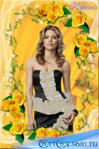Рамка для фото - Очаровательные желтые розы