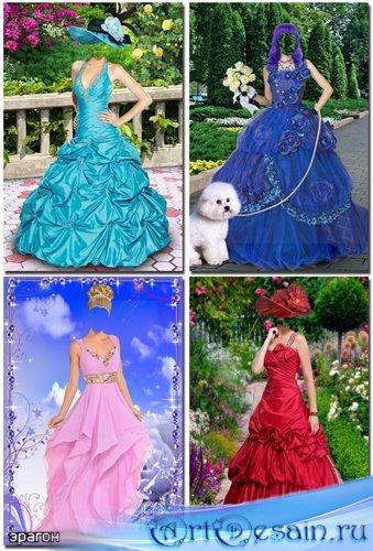 Набор женских шаблонов для фотомонтажа – Шикарные платья