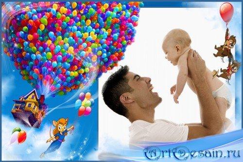 Детская фоторамка - Воздушные шарики и бурундуки