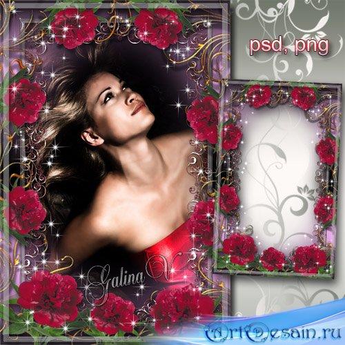 Цветочная рамка - Роскошные пионы цвета бордо