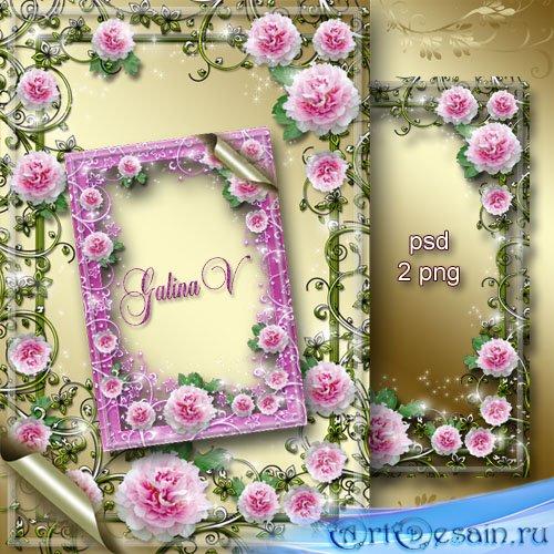 Цветочная рамка - Нежный розовый пион удивил красою