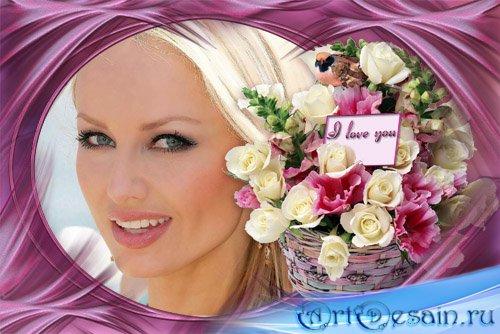Рамка для photoshop - Корзина с цветами