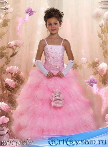 Детский шаблон - Девочка в розовом платье