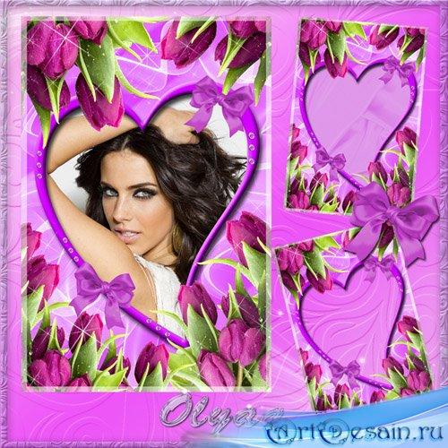 Цветочная рамка для фото – Прелестные тюльпаны