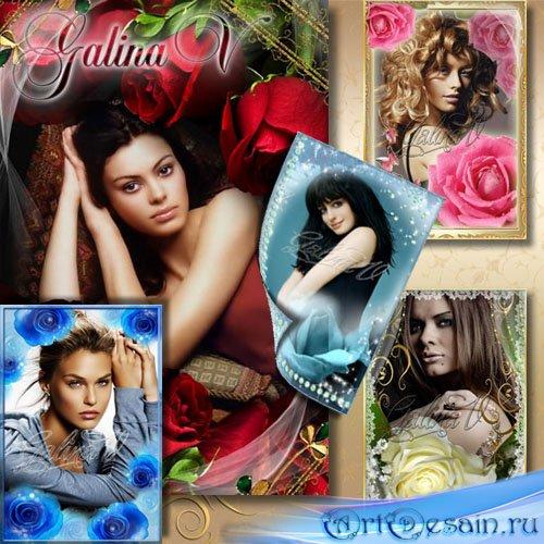 Набор цветочных рамок - Роскошные розы