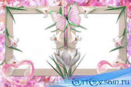 Рамка для фото - Бабочка на лилиях
