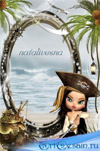 Рамка детская для Photoshop – Юная пиратка на берегу моря