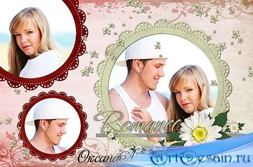 Рамка для фотошоп на 3 фото Romance