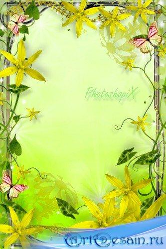 Рамка для Photoshop с желтыми цветами – Солнечное пробуждение