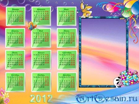 Рамка календарь для фотошопа с Дидлами