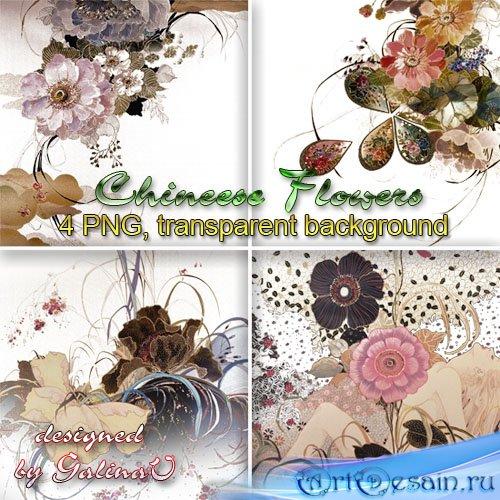 Клипарт PNG - Китайские цветочные композиции