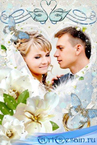 Свадебная рамка для Photoshop – Два кольца соединили два сердца