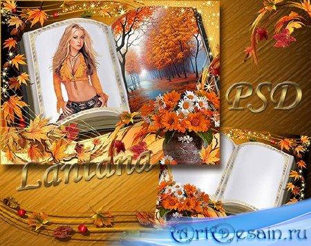 Рамка для фото - Осенние листья летят на страницы
