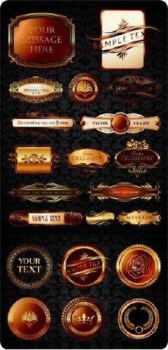 Золотые декоративные элементы в векторе
