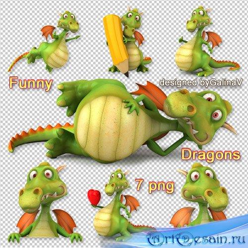 Клипарт Забавные драконы | Funny Dragons PNG