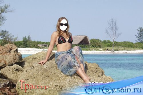 Шаблон для фотошоп - Девушка у моря