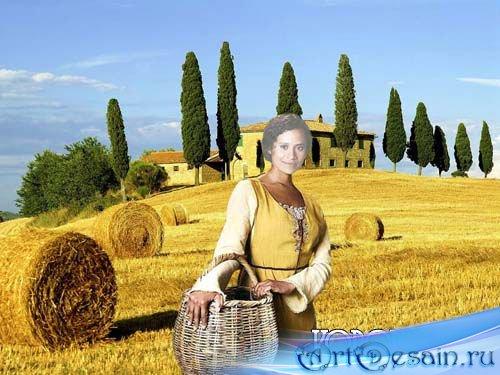 Шаблон для фотошопа - Девушка крестьянка
