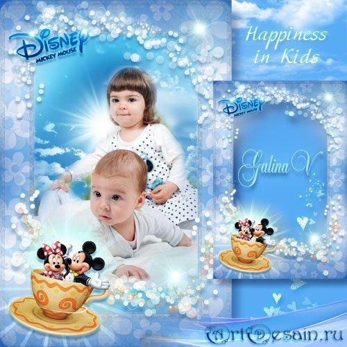 Рамка для фото с Микки и Минни - Счастье в детях