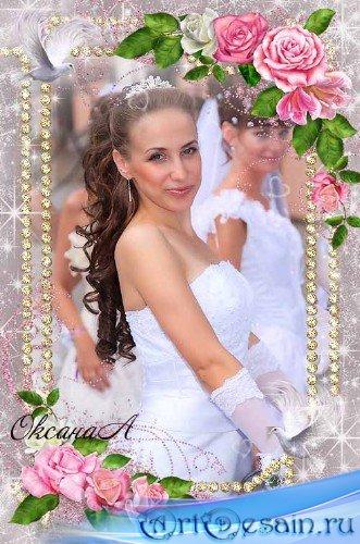 Свадебная рамка для фото - Два голубка и розовые розы любви