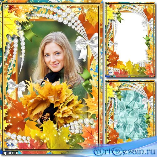 Осенняя рамка для фотошопа – Кленовые листья
