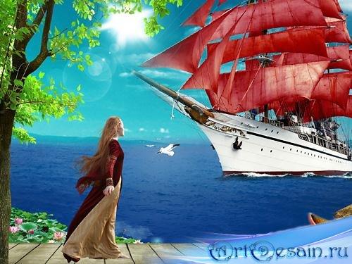 Psd исходник – Ассоль - Алые паруса, синие небеса