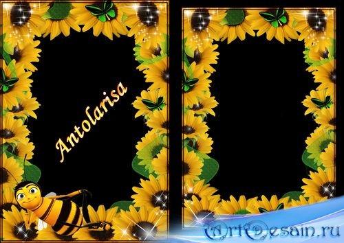 Рамка для фото - Подсолнухи и пчелка