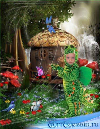 Детский фотошаблон для мальчика - Мой маленький дракончик