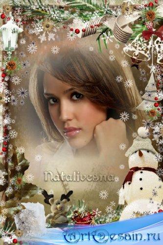 Рождественская рамка   – Тихо шепчут нам снежинки, легко падая, кружа… Праз ...