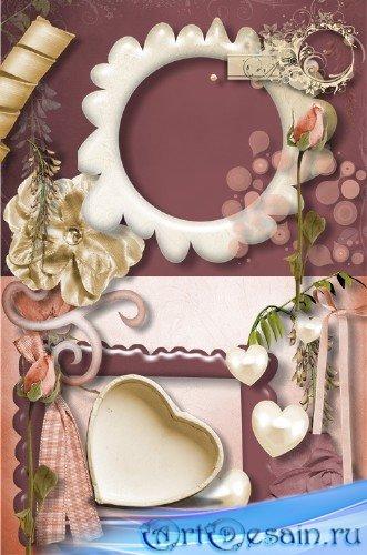 Скрап-набор - Романтическое бордо и шоколад