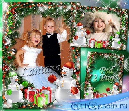Детская рамочка - В ночь когда трещал мороз снеговик подарки нес