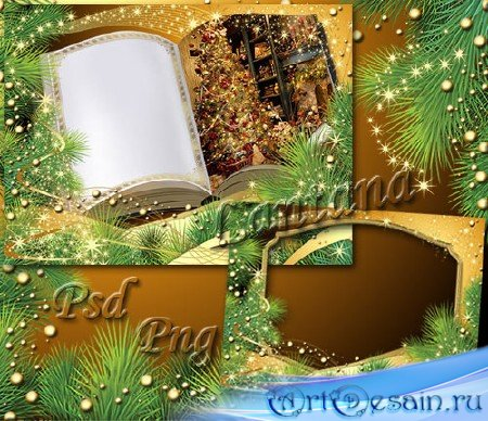 Рамка для фото - Горит огнями елочка - зеленые иголочки