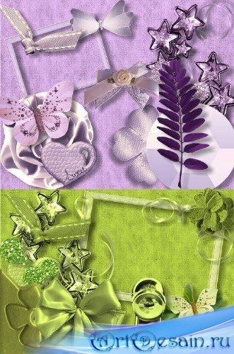Скрап-набор - Зелено-фиолетовые элементы в светлых тонах