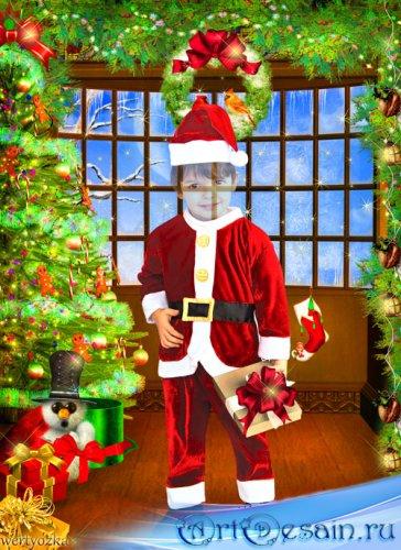 Детский шаблон - Мальчик в новогоднем костюме Деда Мороза