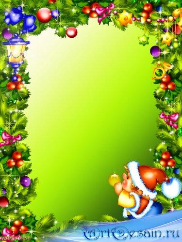 Новогодняя рамка для фото - Свети ярко фонарик в новогоднюю ночь