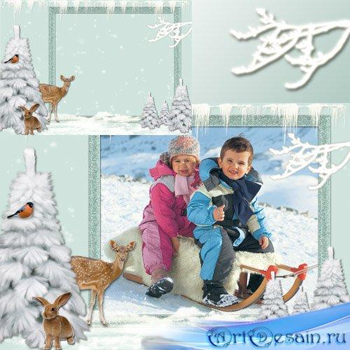 Детская рамка для фото - Зимний лес