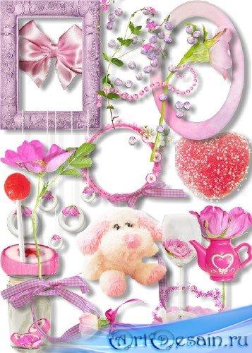 Скрап-набор - Нежно-розовые элементы