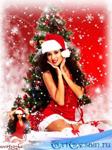 Новогодний женский шаблон - Очаровательная Снегурочка в серебристых снежинк ...