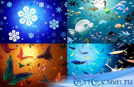 Клипарт в PSD - Снежинки, Бабочки, Рыбы, Перо