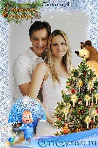 Новогодняя вертикальная рамка  - Медведь и Маша фигуристка