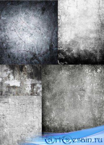 Растровый клипарт - Старые, поцарапанные, серые стены