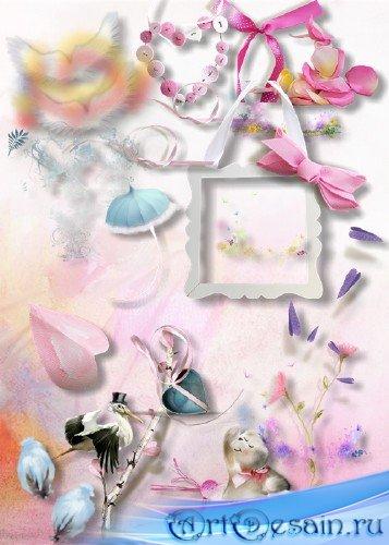 Нежно-розовый скрап-набор для творчества