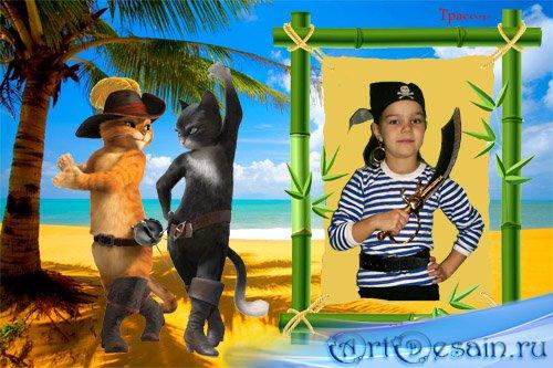 Рамочка детская для фотошоп – Кот в сапогах