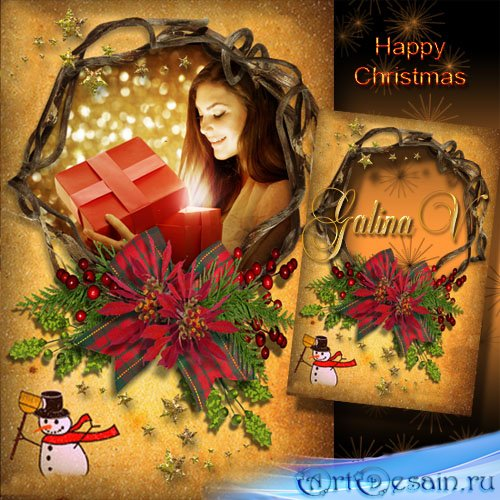 Праздничная рамка для фото - Желаем счастья в Рождество