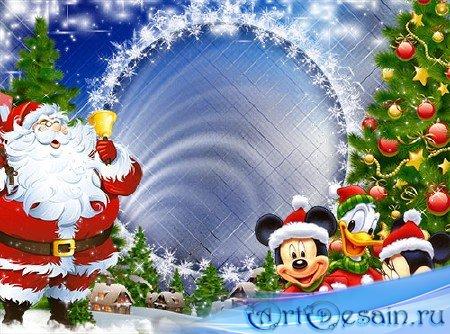 Детская новогодняя рамочка - Спешит на ёлку Дед Мороз