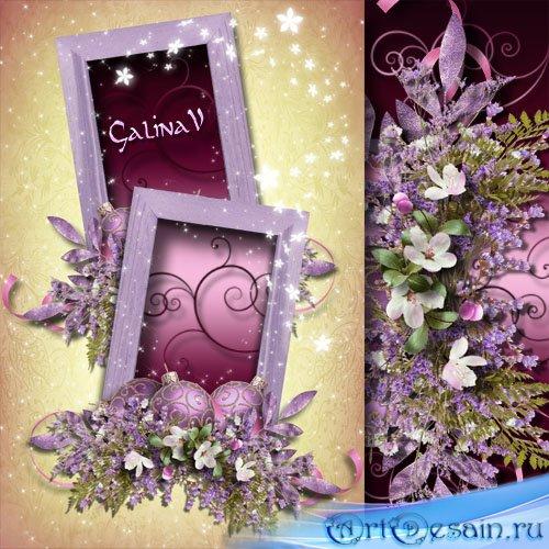 Праздничная рамка на 2 фото - Цветы на Рождество
